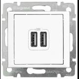 VAL Двойно USB зарядно бяло